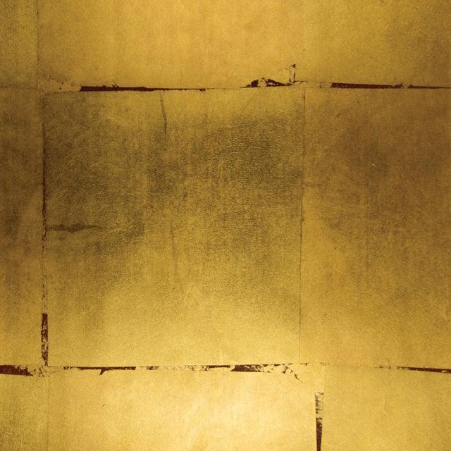 Sample, Maya Romanoff Precious Metals - Vermilion Gold - Hand-Inlaid Metal Leaf Wallcovering For Sale