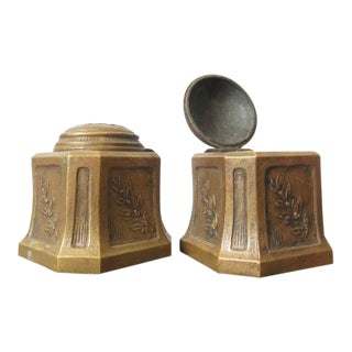 Vintage Brass Inkwells - a Pair For Sale
