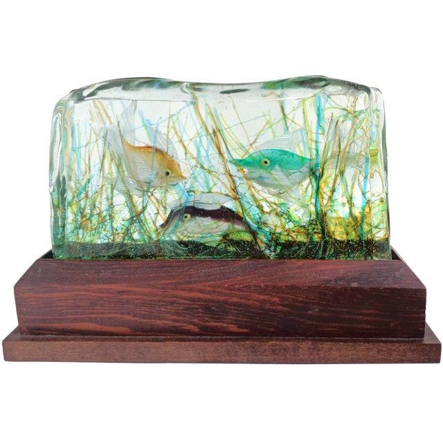 Turquoise Cenedese Murano Three Fish Italian Art Glass Aquarium Block on Lighted Base For Sale - Image 8 of 8