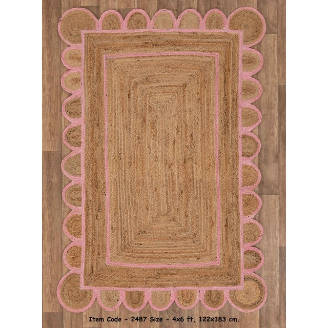 Scallop Jute Light PInk Hand Made Rug - 9'x12' For Sale - Image 9 of 11