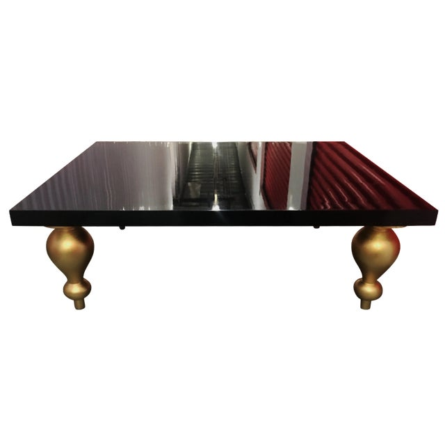 Black Lacquer Coffee Table with Gold Legs - Image 1 of 7