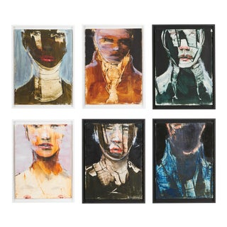 Michael J. Dowling Contemporary Oil Painting Framed - Set of Six Faces For Sale