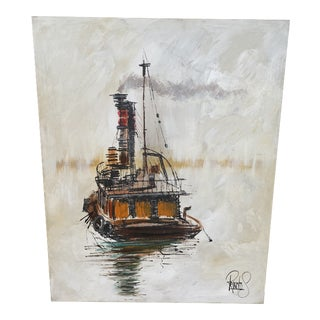 Vintage Mid-Century Modern Lee Reynolds Nautical Painting For Sale