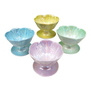 Vintage Lusterware Footed Dessert Bowls - Set of 4 For Sale