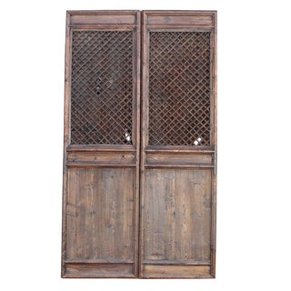 Rustic Chinese Lattice Panels Set of 2 For Sale