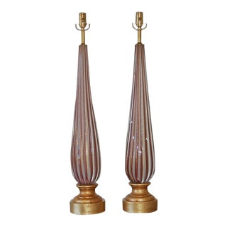 Lavender Striped Vintage Murano Lamps For Sale