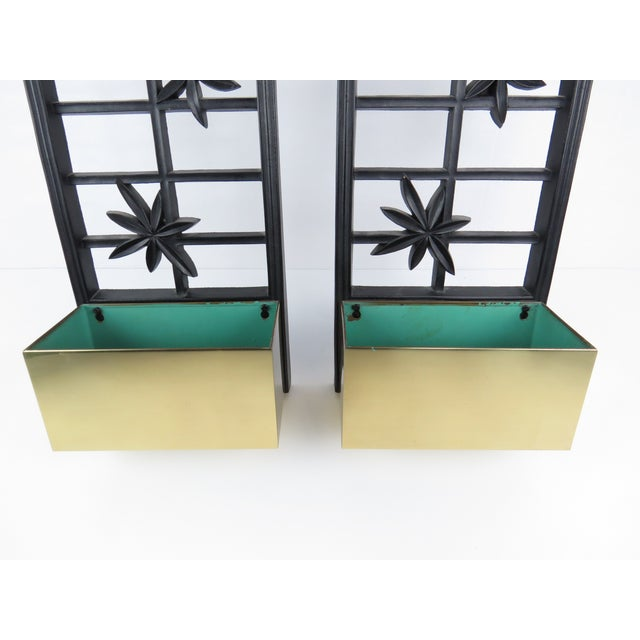 Hollywood Regency Vintage Syroco Ebonized Wood and Brass Wall Planters - a Pair For Sale - Image 3 of 13