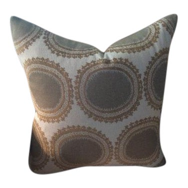 Kravet Pillows in Toffee Brown & Gray Geometric Woven Dots on Ivory - a Pair - Image 6 of 6