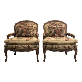 Hickory White French Louis XV Style Carved Walnut Chairs - a Pair For Sale