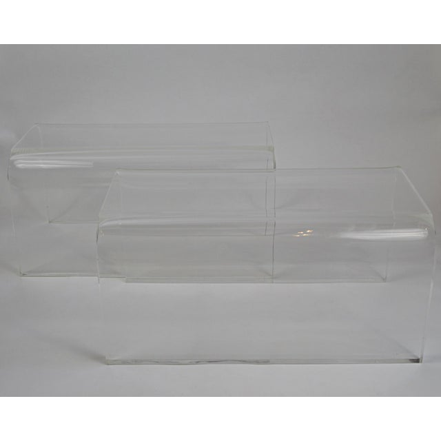 Mid-Century Modern Vintage 1960s-70s Lucite Waterfall Low Tables-A Pair For Sale - Image 3 of 7