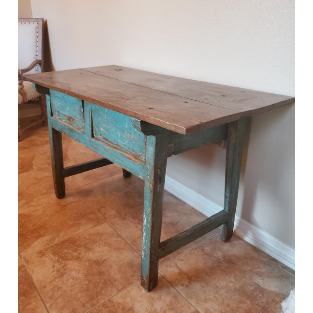 Rustic 19th Centuy Spanish Distressed Painted Table For Sale - Image 4 of 13