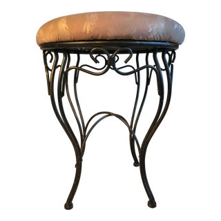 1950s Vintage French Iron Vanity Stool For Sale