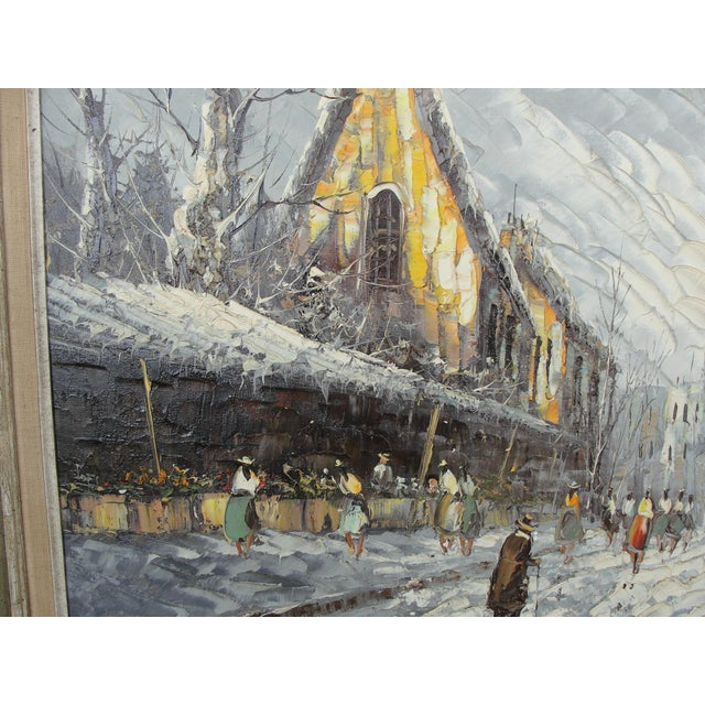 Mid-Century Impressionist Winter Cityscape For Sale - Image 5 of 11