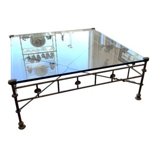 Iron and Glass Cocktail Table in the Manner of Giacometti For Sale