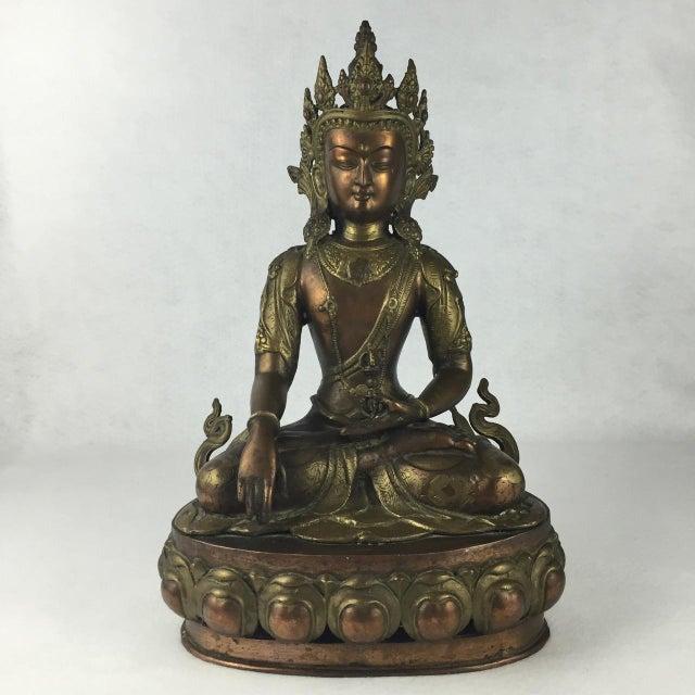 Asian Vintage Tibetan Buddha Bronze-Cast Statue For Sale - Image 3 of 11