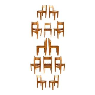 Set of 12 Vintage European Wood Slat Chairs For Sale