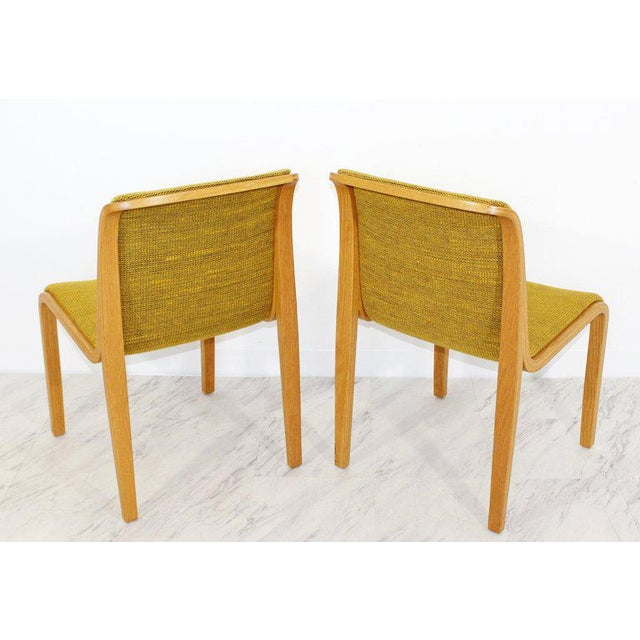 Textile 1970s Mid-Century Modern Bill Stephens for Knoll Blonde Wood Side Chairs - Set of 4 For Sale - Image 7 of 10