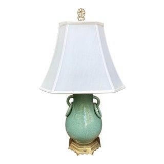 Incised Celadon Vase Shaped Table Lamp