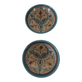 Pair of Hand Painted Moroccan Decorative Bowls For Sale