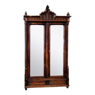 Vintage 1896 Maison Antoine Bastet, Lyon, Walnut French Gothic Mirrored Armoire For Sale
