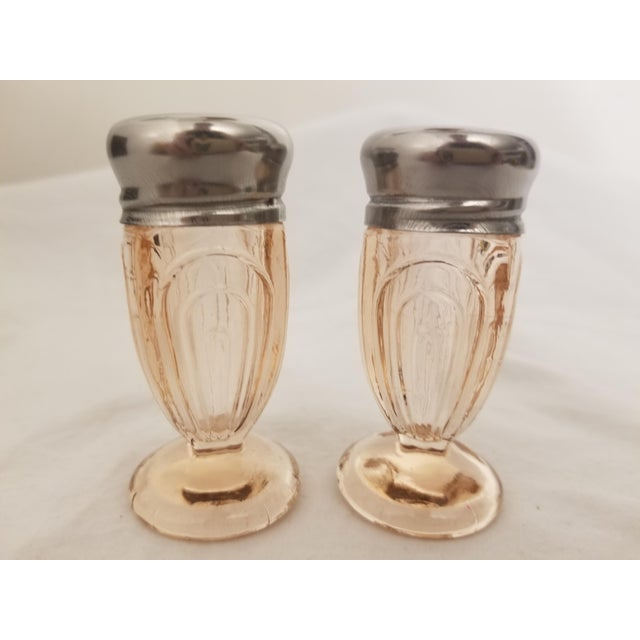 Metal Vintage Art Deco Pressed Pink Glass Footed Salt and Pepper Shakers - a Pair For Sale - Image 7 of 8