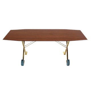 Brass X Base on Wheels Dining Serving Boat Shape Table For Sale