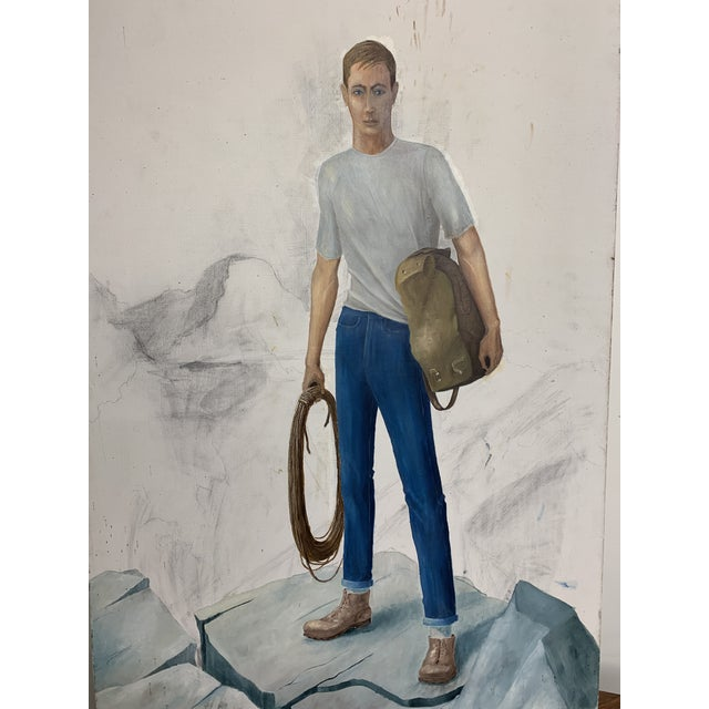 Vintage, unfinished oil on canvas painting of what appears to be a rock climber hold a rope and bag of gear. Has a home...