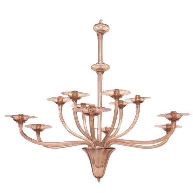 1940s Italian Murano Tiered Amethyst Chandelier Attributed to Venini For Sale