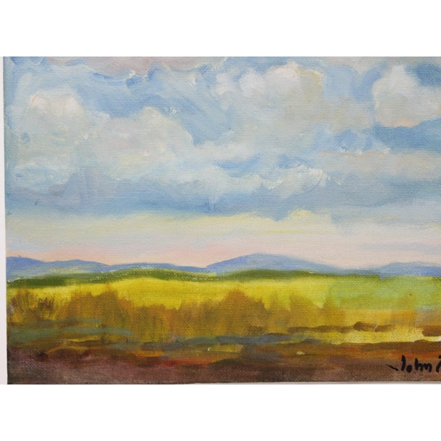 """Impressionist Small Oil Painting on Canvas Board """"Hudson Valley Skies"""" by Listed Artist John Elliot For Sale In West Palm - Image 6 of 12"""