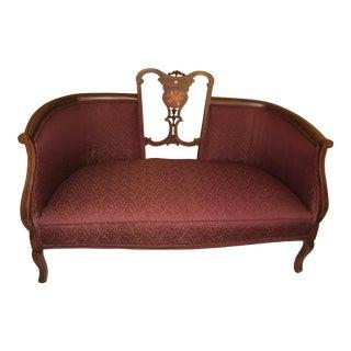 Edwardian Mahogany & Upholstered Salon Settee