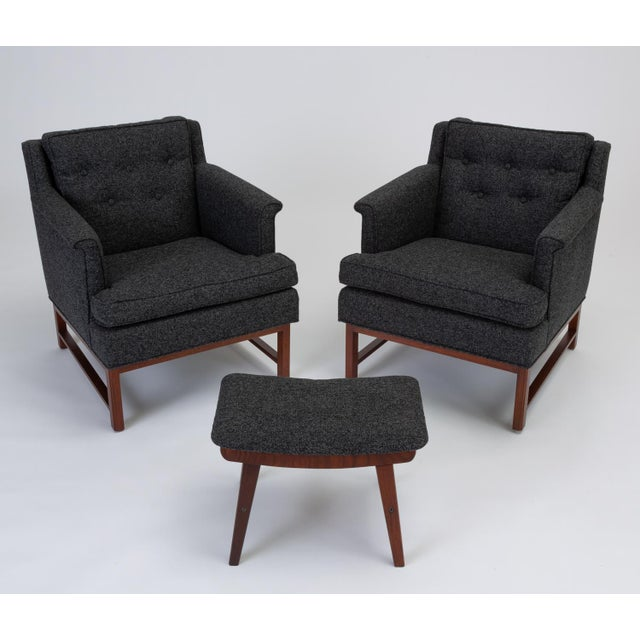 Mid-Century Modern Pair of Petite Lounge Chairs by Edward Wormley for Dunbar For Sale - Image 3 of 13