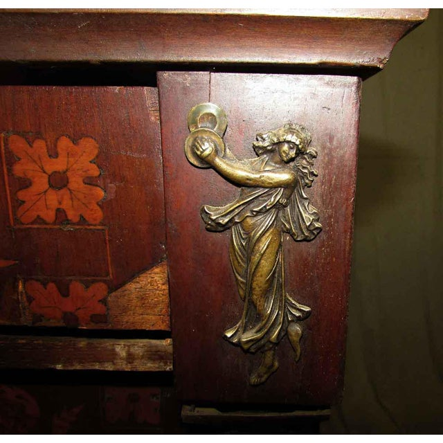 Tall Inlaid Dresser With Bronze Reliefs For Sale - Image 5 of 10