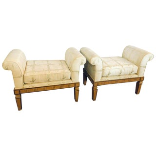 Pair of Italian Neoclassical Style Window Benches Creme Painted For Sale