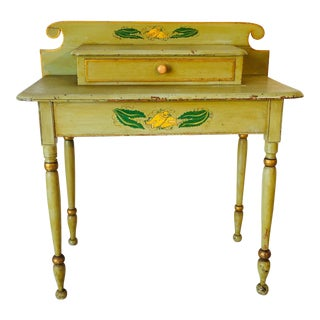 1838 Antique French Country Style Yellow Dressing Table For Sale