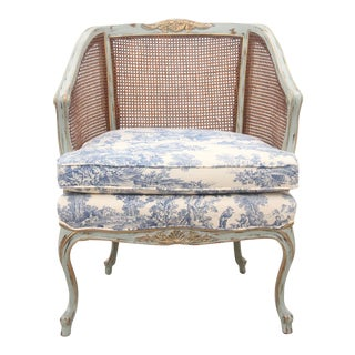 1960s Vintage French Provencial Style Cane and Toile Arm Chair For Sale