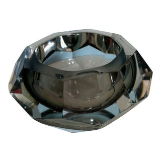 Flavio Poli Smoked Grey and Clear Faceted Sommerso Murano Glass Ashtray Alessandro Mandruzzato Ashtray For Sale