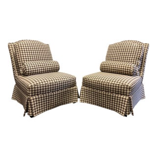 Theodore Alexander Althorp Living History Herringbone Slipper Chairs For Sale