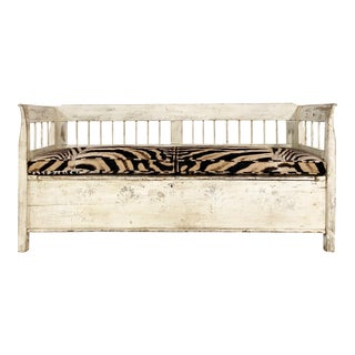 Antique Painted Swedish Bench With Custom Zebra Hide Cushion For Sale