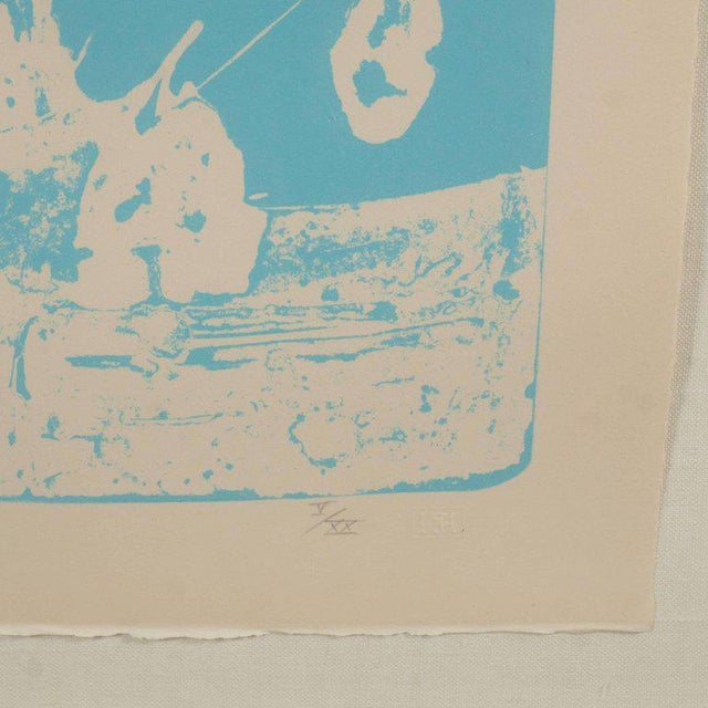 Signed Lithograph by Robert Motherwell Untitled Abstract Pale Blue on White - Image 4 of 10