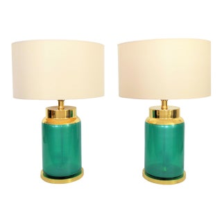 Vintage Italian Murano Reverse Painted Iridescent Blue/Green Glass Table Lamps - a Pair -Mid Century Modern MCM Venetian
