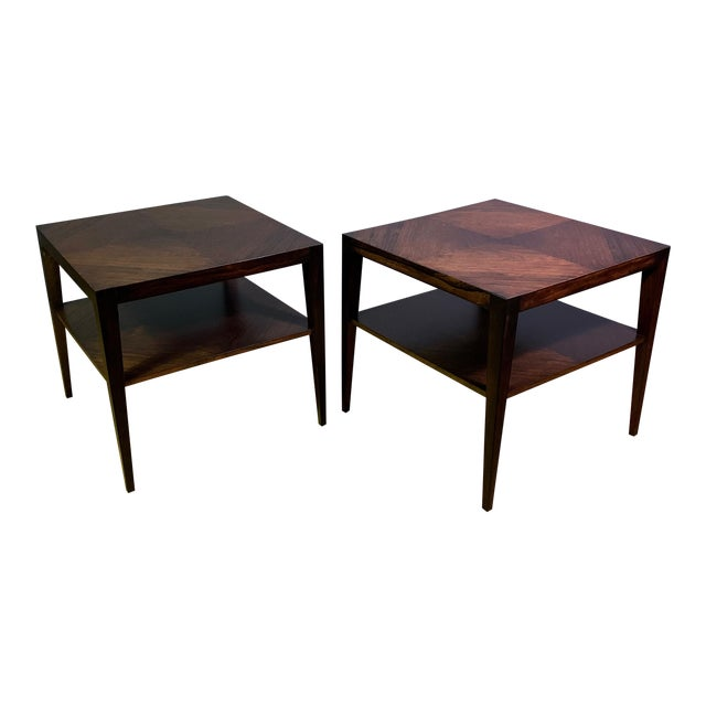 Pair Isaac Teperman Brazilian Rosewood Side Tables, 1950s For Sale