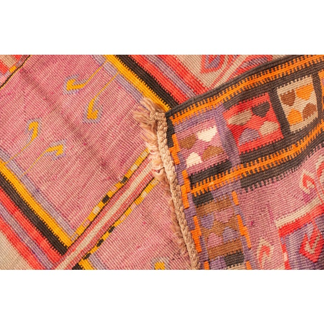 Textile Antique Kurdish Pink and Brown Wool Kilim With Mihrab Pattern - 5′1″ × 14′9″ For Sale - Image 7 of 8