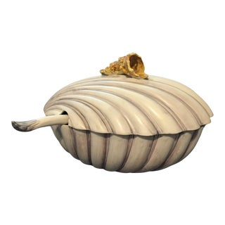 Italian Majolica Clamshell Oyster Soup Tureen For Sale