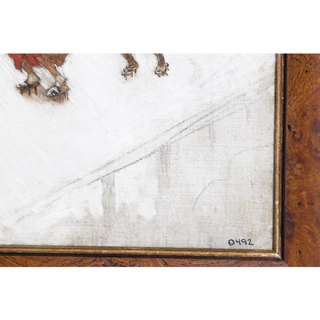 "Canvas Late 19th Century Francis Neydhart Oil on Canvas ""On the Bridge"" For Sale - Image 7 of 13"