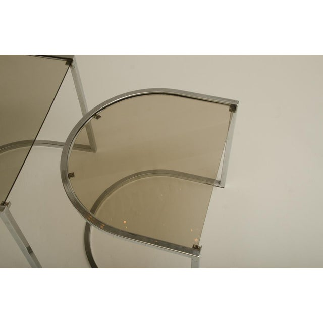 Chrome Set of Three Mid-Century Glass and Chrome Nesting Tables by Milo Baughman For Sale - Image 7 of 7