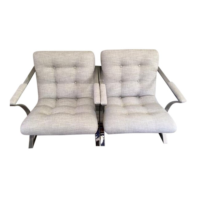 1970s Vintage Milo Baughman Newly Upholstered Chrome Chairs- a Pair For Sale