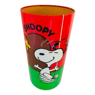 1960's Vintage Snoopy Charlie Brown Wastebasket Trash Can Trashcan For Sale