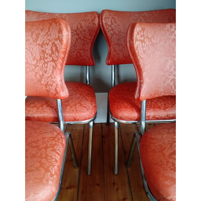 Retro 1950s Vinyl & Chrome Dining Chairs - Set of 4 For Sale In New York - Image 6 of 10