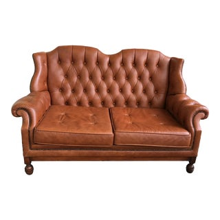Vintage 20th Century Traditional Tan Leather Chesterfield Wingback Sofa For Sale