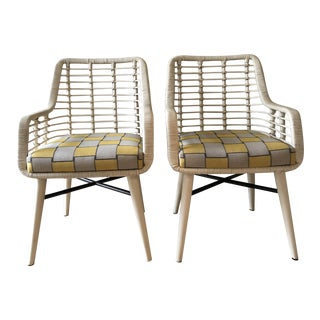 Palecek Emery Custom Sunbrella Fabric Outdoor Arm Chairs - a Pair
